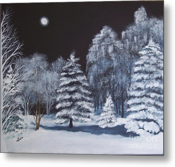Winter Moonlight In The Country Metal Print