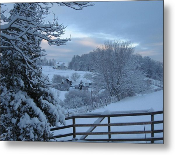 Blue Ridge Mountain Snowy Morning Metal Print