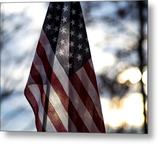 Winter Morning Patriotism Metal Print