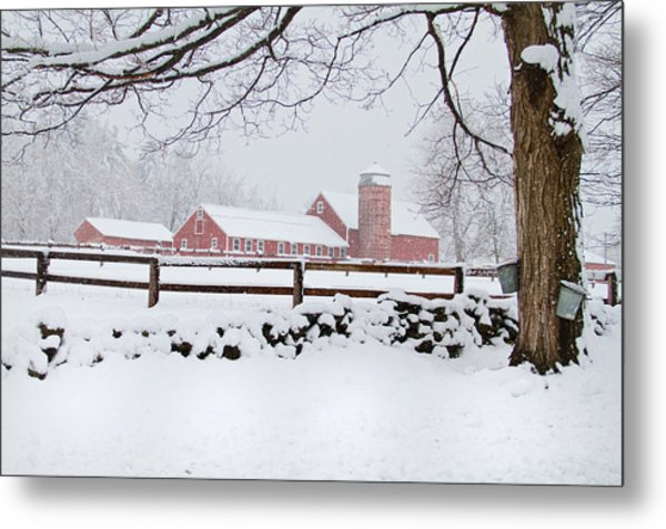 Winter New England Farm Metal Print