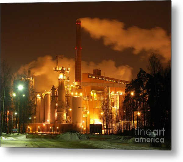 Winter Night At Sunila Pulp Mill Metal Print