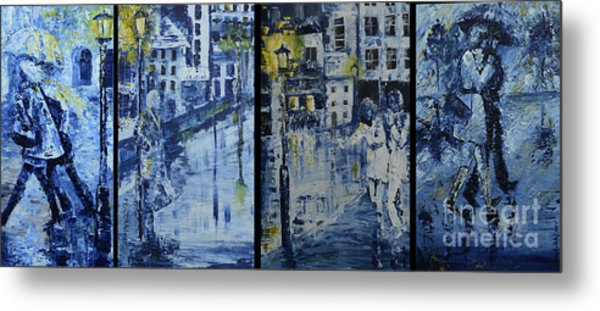 Winter Night In The City Metal Print by Roni Ruth Palmer
