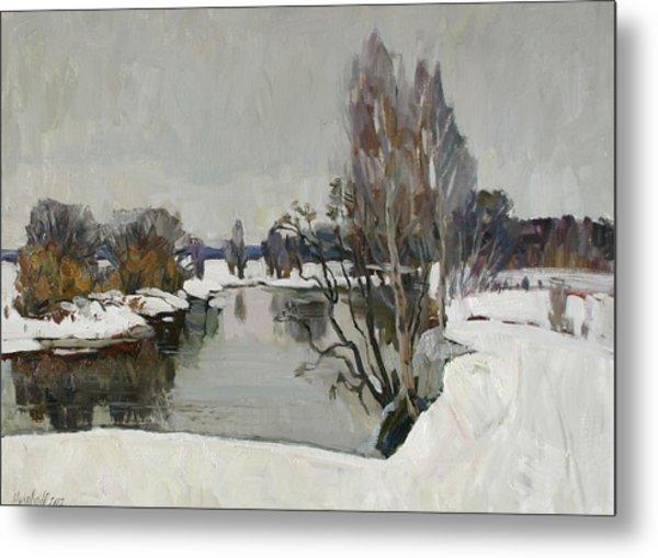 Winter On River Kliazma Metal Print