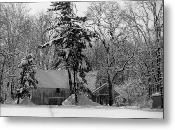 Winter On The Farm Metal Print by Thomas Fouch