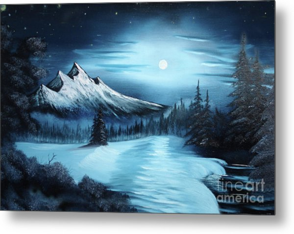 Winter Painting A La Bob Ross Metal Print by Bruno Santoro