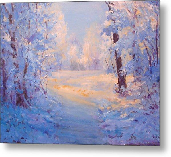 Winter Path. Metal Print by Julia Utiasheva