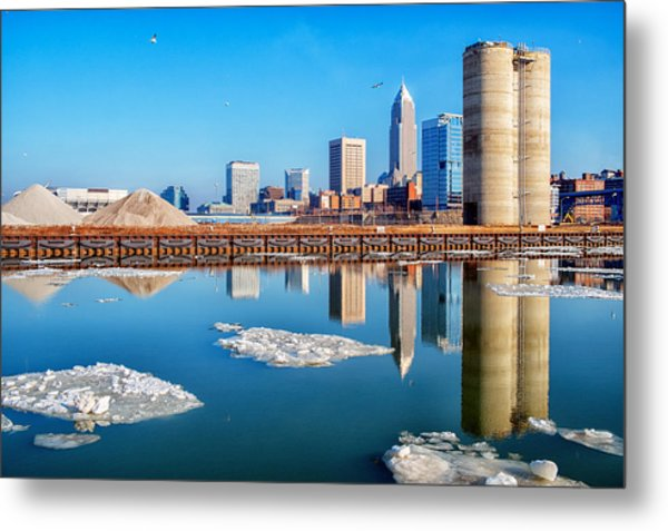 Winter Reflections Of Cleveland Ohio Metal Print
