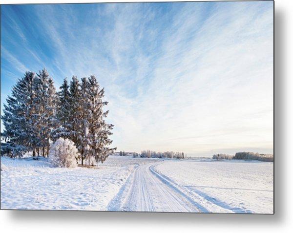 Winter Road Through Sweden Metal Print by Lkpgfoto
