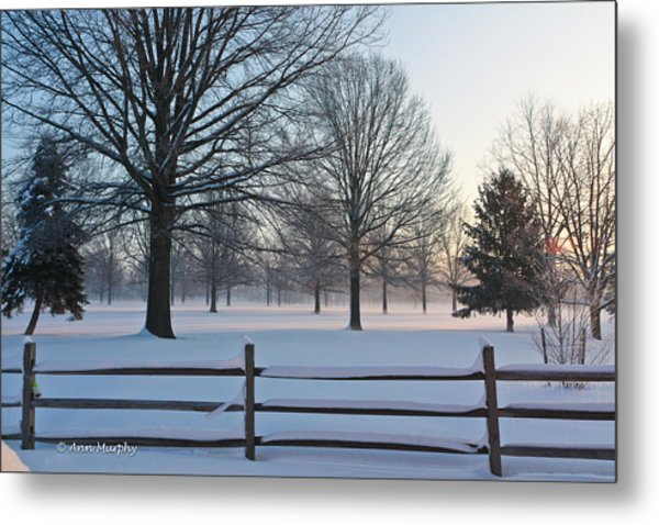 Winter Snow And Shadows Metal Print