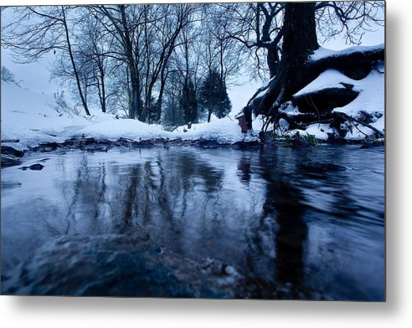 Winter Snow On Stream Metal Print