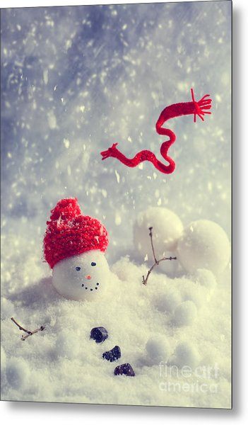 Winter Snowman Metal Print