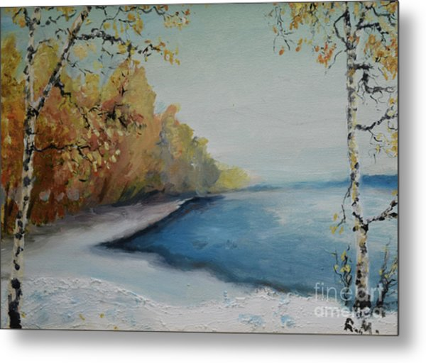 Winter Starts At Kymi River Metal Print