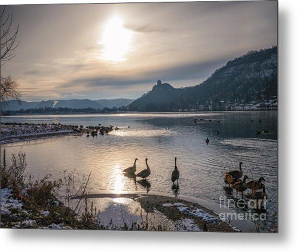 Winter Sugarloaf With Geese Metal Print