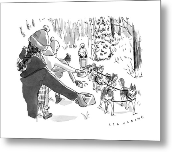 Winter Suited Volunteers Hold Out Dog Dishes Metal Print