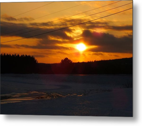 Winter Sun Sets 4 Metal Print by Gene Cyr