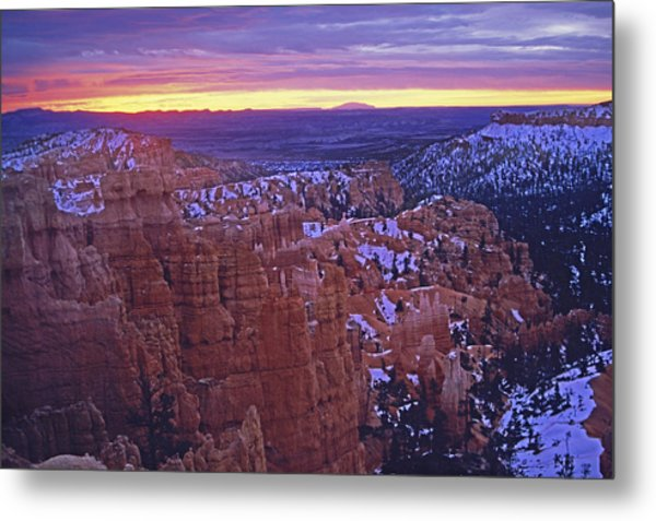 Winter Sunrise At Bryce Canyon Metal Print