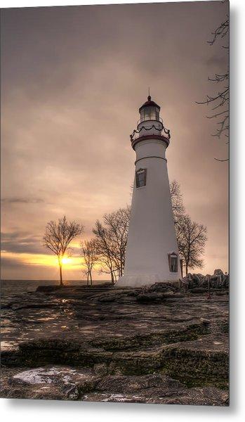 Winter Sunrise At Marblehead Lighthouse - Portrait Metal Print