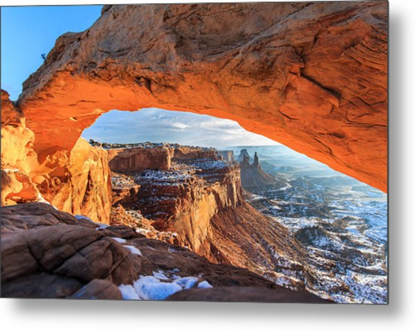 Winter Sunrise At Mesa Arch Metal Print