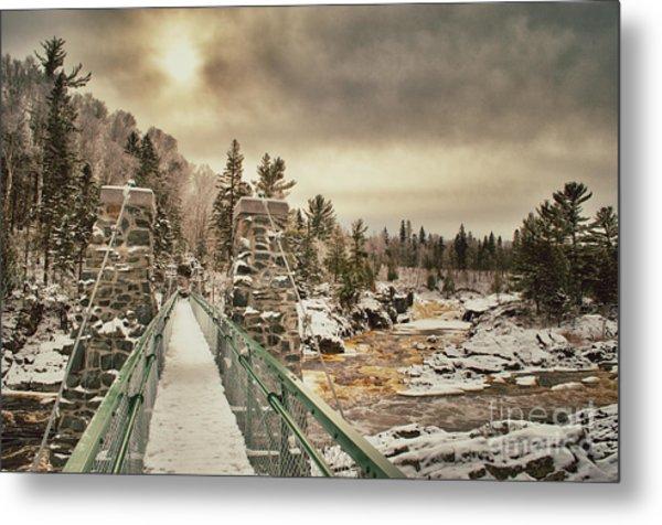 Winter Sunrise Over A Swinging Bridge Metal Print