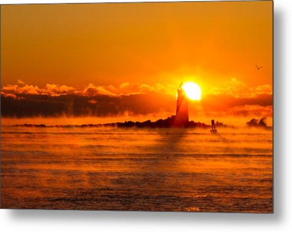 Metal Print featuring the photograph Winter Sunrise Whaleback Light by Jeff Sinon