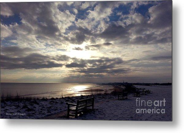 Winter Sunset Beach And Bench Metal Print by Merice Ewart