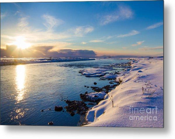 Winter Sunset In Iceland Metal Print