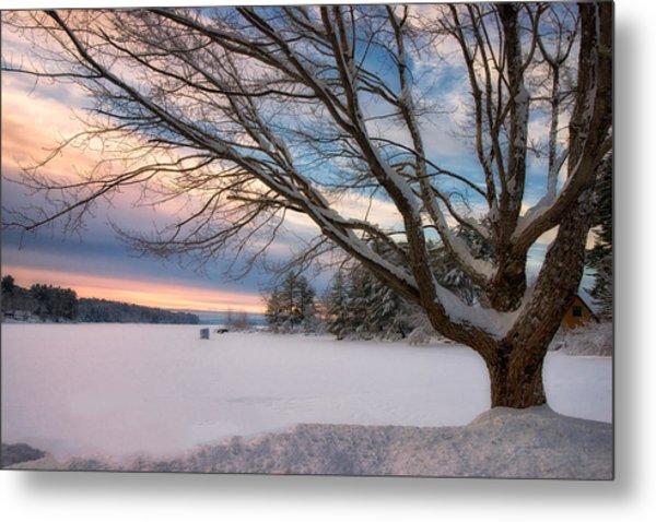 Winter Sunset On Long Lake Metal Print