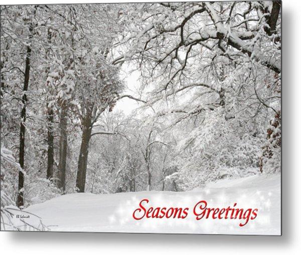 Winter Trail Seasonal Card Metal Print