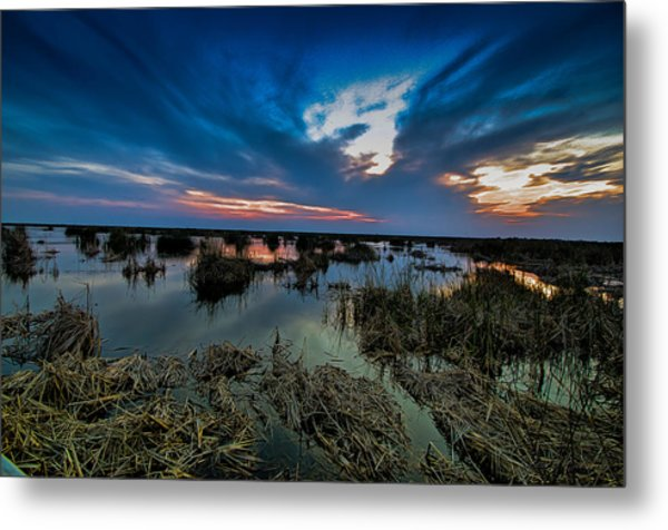 Winter Twilight At Anahuac Wildlife Refuge  Metal Print