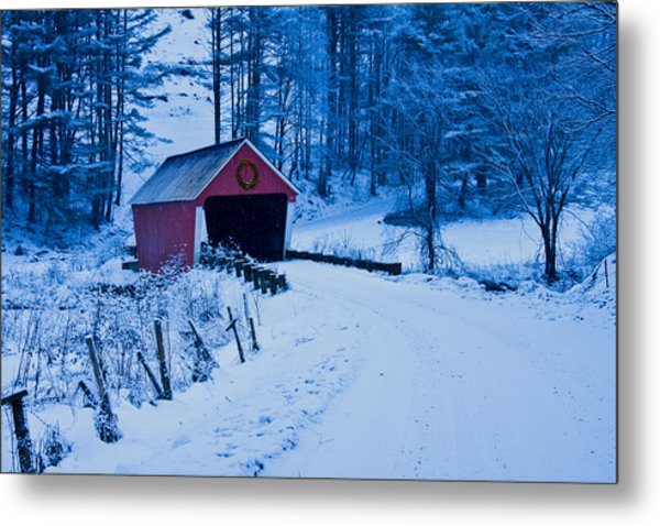 winter Vermont covered bridge Metal Print