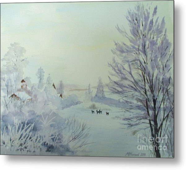 Winter Visitors Metal Print