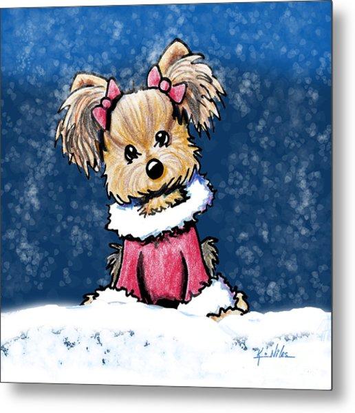 Winter Whimsy Yorkie Terrier Metal Print by Kim Niles