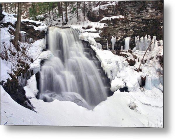 Winter Wilds At Erie Falls Metal Print