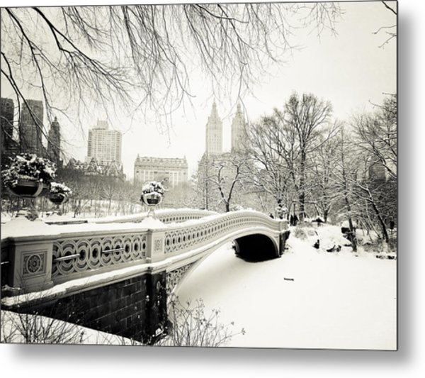 Winter's Touch - Bow Bridge - Central Park - New York City Metal Print