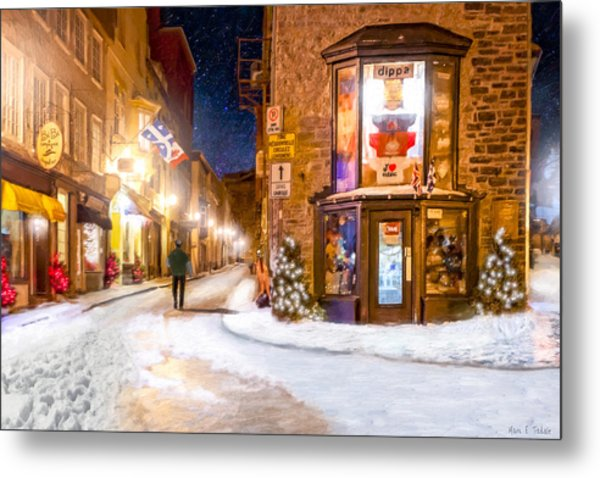 Wintery Streets Of Old Quebec At Night Metal Print