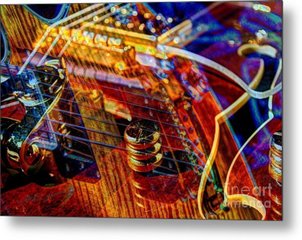 Wipe Out Digital Guitar Art By Steven Langston Metal Print by Steven Lebron Langston