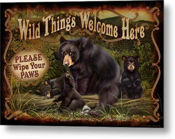 Wipe Your Paws Metal Print