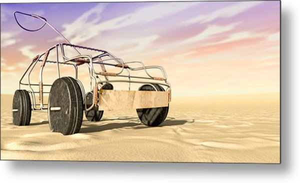 Wire Toy Car In The Desert Perspective Metal Print