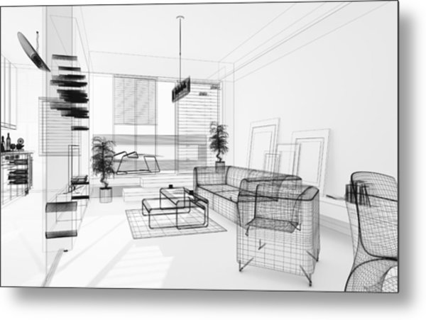 Wireframe 3d Modern Interior. Blueprint. Render Image. Architecture Abstract. Metal Print by PetrePlesea