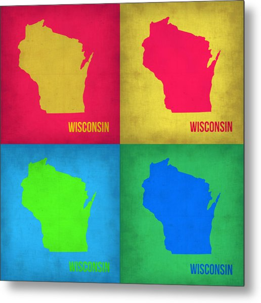 Wisconsin Pop Art Map 1 Metal Print