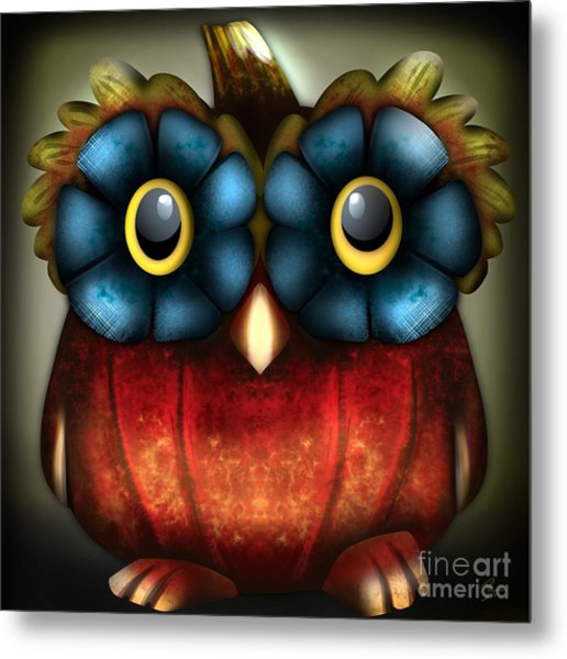 Wise Pumpkin Owl Metal Print