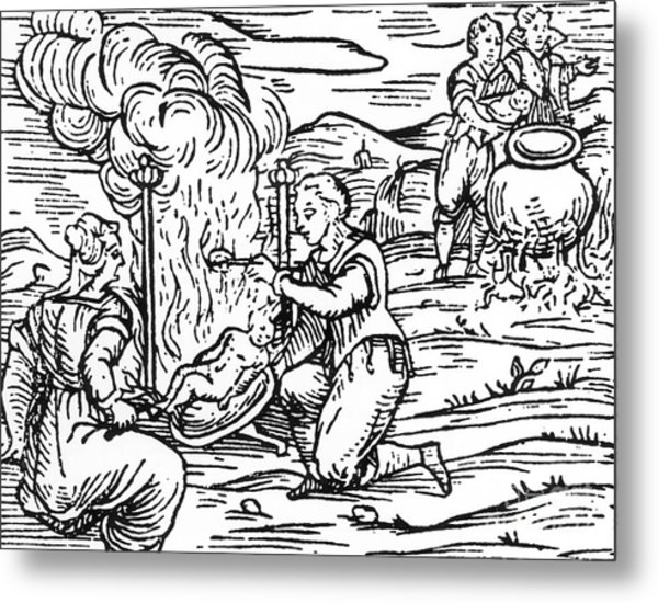 Witches Roasting And Boiling Infants Metal Print