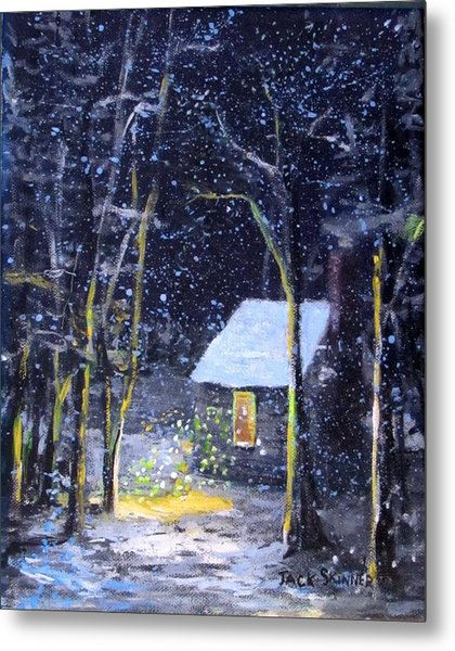 Wintery  Night At Thoreau's Cove Metal Print