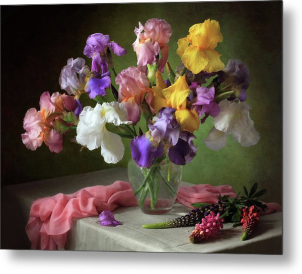 With A Bouquet Of Irises And Flowers Lupine Metal Print