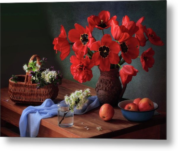 With A Bouquet Of Red Tulips Metal Print
