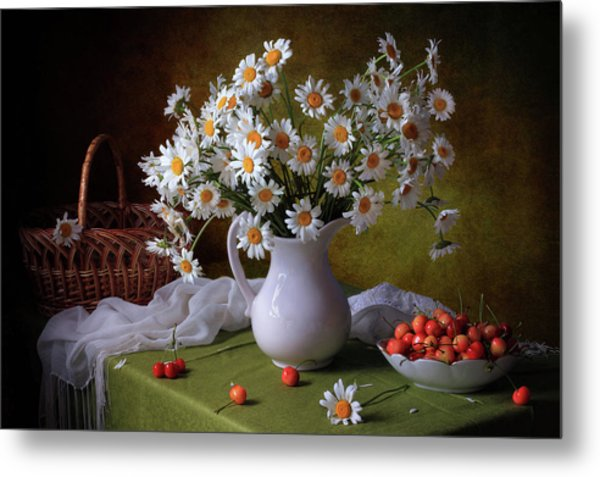 With Camomiles And Merry Metal Print by ??????? ????????