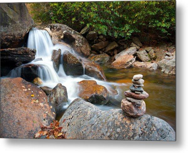 Wnc Flowing Zen Waterfalls Landscape - Harmony Waterfall Metal Print