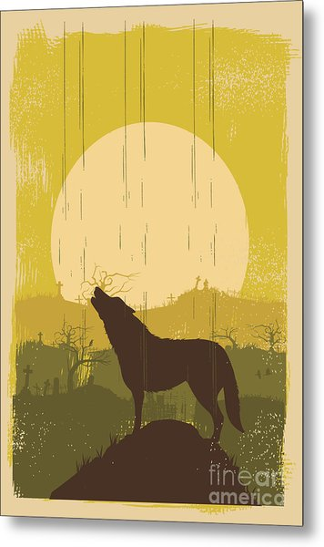 Wolf Howling Background, Vector Metal Print by Seita