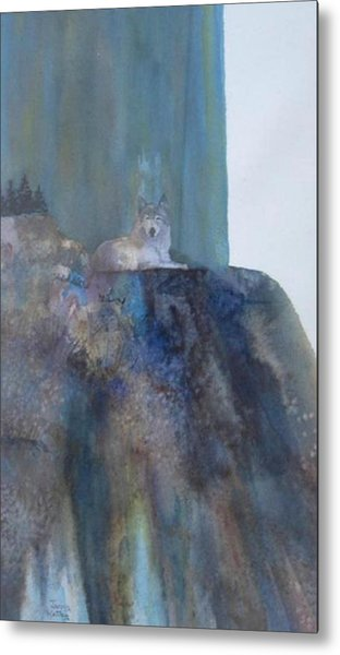 Wolf On Cliff Metal Print