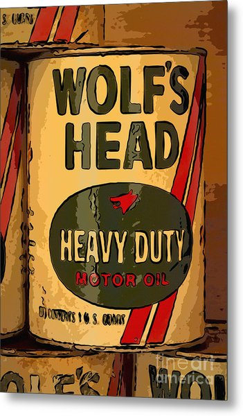 Wolf's Head Oil Can Metal Print